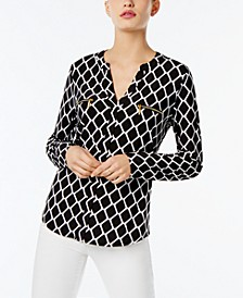 INC Petite Printed Zip-Pocket Top, Created for Macy's