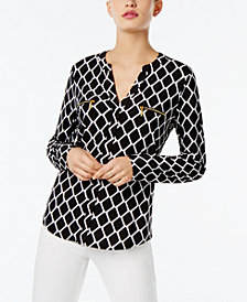 I.N.C. Printed Zip-Detail Top, Created for Macy's