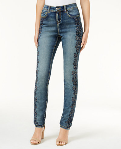 I.N.C. Embroidered Skinny Jeans, Created for Macy's