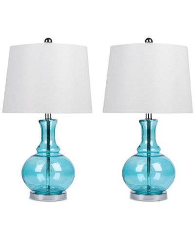 Abbyson Set of 2 Claire Glass Table Lamps
