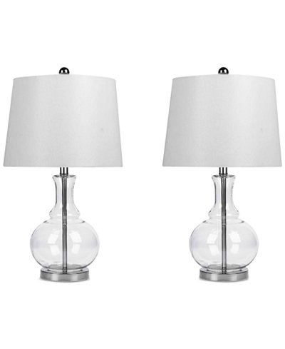 Abbyson Set of 2 Claire Clear Glass Table Lamps