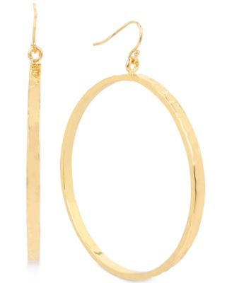 Image of Hint of Gold Hammered Drop Hoop Earrings in Gold-Plate