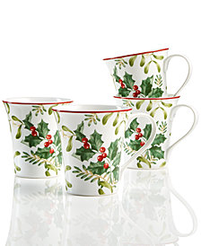 222 Fifth Christmas Foliage 4-Pc. Mug Set