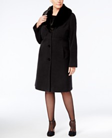 cafae309498 Jones New York Plus Size Faux-Fur-Collar Walker Coat