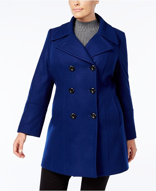 6ea10426bed56 Anne Klein Plus Size Double-Breasted Peacoat   Reviews - Coats ...