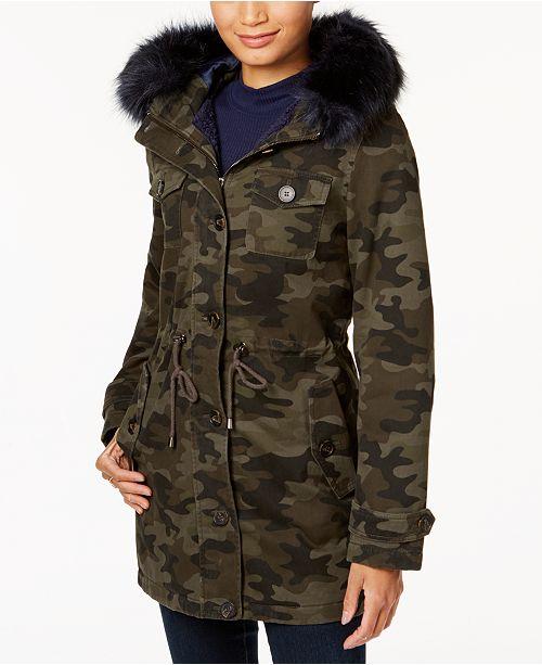 BCBGeneration Camo-Print Faux-Fur-Trim Coat - Coats - Women - Macy s 7e54613aa7