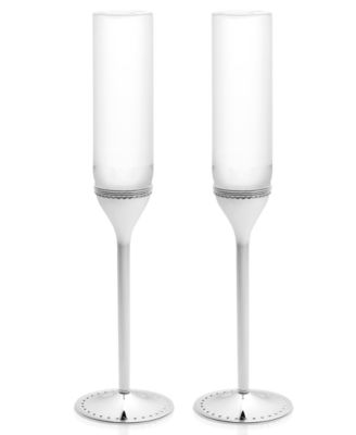 Set of 2 Grosgrain Toasting Flutes