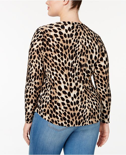 Animal INC Macy's Blouse for I International C Cheetah Concepts N Created Size Plus Print 0pqw0fr