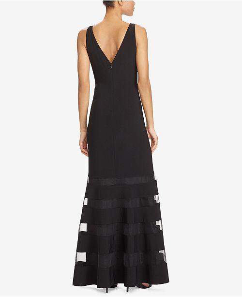 Macys Outlet Nj: Lauren Ralph Lauren Tulle-Panel Jersey Gown