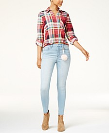 Juniors' Plaid Shirt & Tinseltown Skinny Jeans