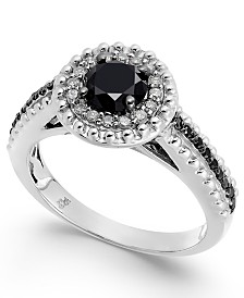 Diamond Halo Ring (1 ct. t.w.) in Sterling Silver