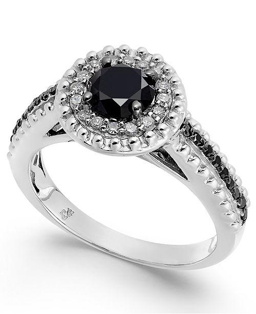 Macy's Diamond Halo Ring (1 ct. t.w.) in Sterling Silver