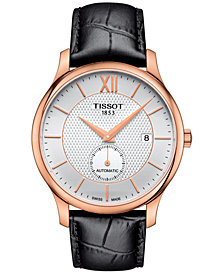 Tissot Men's Swiss Automatic Tradition Black Leather Strap Watch 40mm