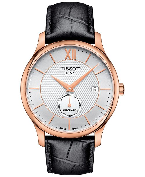 ed4fb2ac604 ... Tissot Men s Swiss Automatic Tradition Black Leather Strap Watch ...