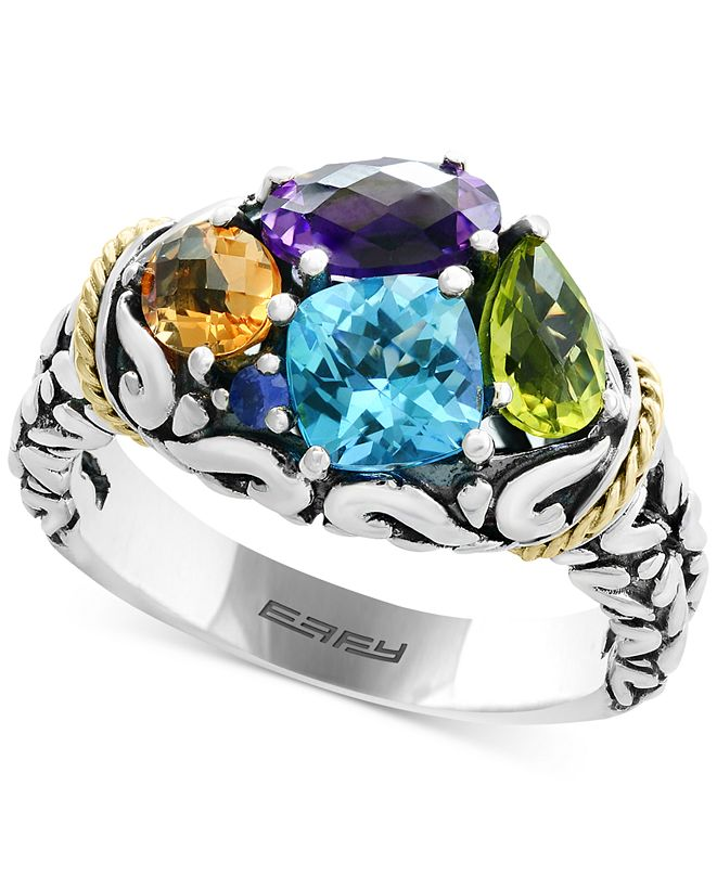 EFFY Collection EFFY®Mosaic Multi-Gemstone Ring (5-1/3 ct. t.w.) in Sterling Silver and 18k Gold