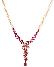 Le Vian®Certified Passion Ruby™ (14-5/8 ct. t.w.) & Diamond (3/8 ct. t.w.) Lariat Necklace in 14k Rose Gold