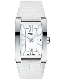 Tissot Women's Swiss Generosi-T White Leather Strap Watch 28x24mm