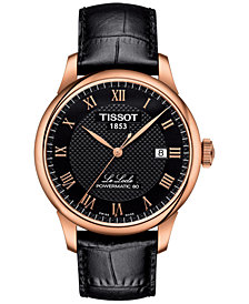 Tissot Men's Swiss Le Locle Black Leather Strap Watch 40mm
