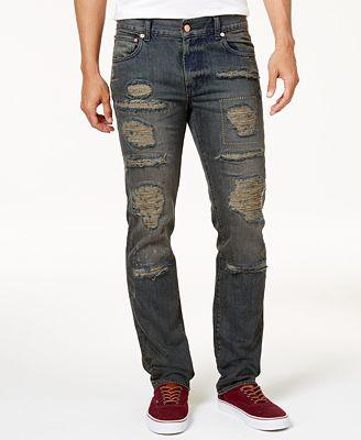 LRG Men's Good School Slim-Straight Fit Destroyed Jeans - Jeans ...