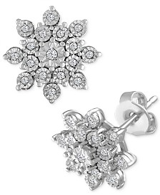 Diamond Cluster Stud Earrings (1/10 ct. t.w.) in Sterling Silver