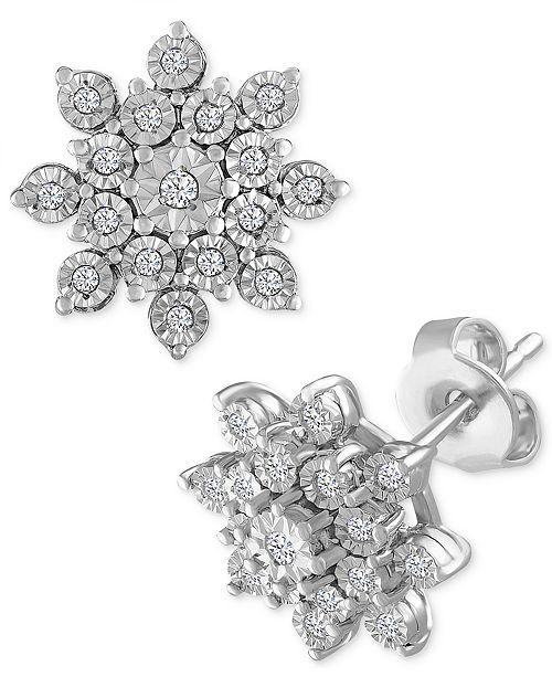 b07f3fd4b Macy's Diamond Cluster Stud Earrings (1/10 ct. t.w.) in Sterling Silver