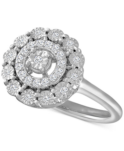 Diamond Halo Ring (1/5 ct. t.w.) in Sterling Silver
