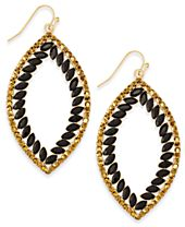 INC International Concepts Gold-Tone Pavé & Jet Stones Open Drop Earrings, Created for Macy's