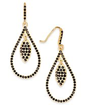 INC International Concepts Gold-Tone Stone Studded Orbital Teardrop Drop Earrings, Created for Macy's