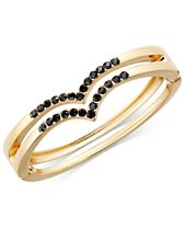 INC International Concepts Gold-Tone Stone-Studded Bangle Bracelet, Created for Macy's