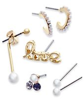 INC International Concepts 6-Pc. Set Crystal & Imitation Pearl Mismatch Earrings, Created for Macy's