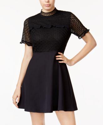 Material girl juniors dress long bell sleeve lace cutout