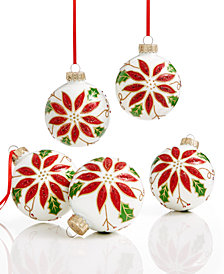 Holiday Lane Set of 5 Glass Poinsettia Ball Ornaments, Created for Macy's