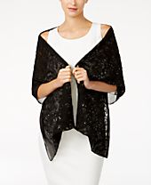 INC International Concepts Sequin & Embroidered Floral Wrap, Created for Macy's