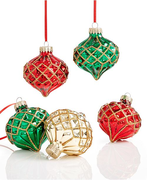 main image - Holiday Lane Set Of 5 Glass Ornaments, Created For Macy's