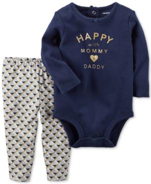 Carters 2Pc Cotton Happy Bodysuit  Printed Leggings Set Baby Girls (024 months)
