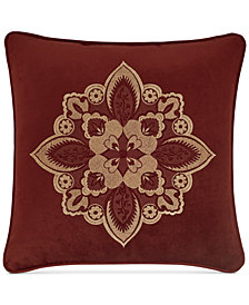 "J Queen New York Rosewood Burgundy 18"" Square Decorative Pillow"