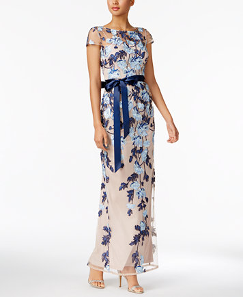 Adrianna Papell - Floral Embroidered Illusion Gown - Lyst
