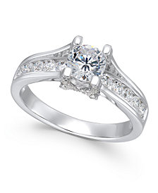 X3 Certified Diamond Engagement Ring (1-1/4 ct. t.w.) in 18k White Gold, Created for Macy's
