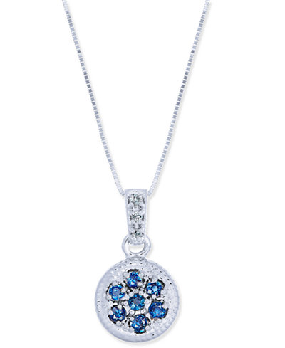 Sapphire (3/8 ct. t.w.) & Diamond Accent Disc Pendant Necklace in 14k White Gold