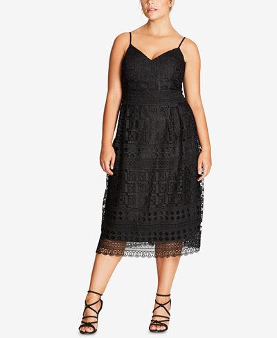 City Chic Trendy Plus Size Lace Party Dress