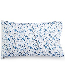 Martha Stewart Collection Printed Standard Pillowcase Pair, 400 Thread Count 100% Cotton Percale, Created for Macy's