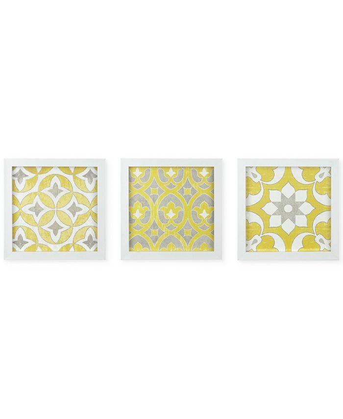 JLA Home - Tuscan Tiles 3-Pc. Framed Gel-Coated Wall Art Set