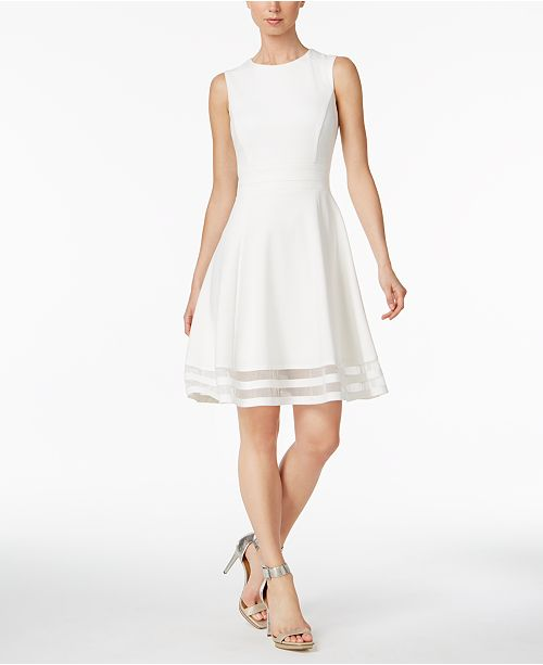 e4068e2d20d Calvin Klein Petite Illusion-Trim Fit   Flare Dress   Reviews ...