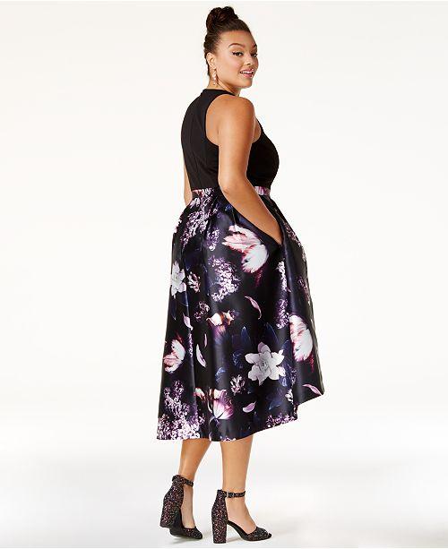 City Chic Trendy Plus Size Printed High Low Dress Dresses Plus