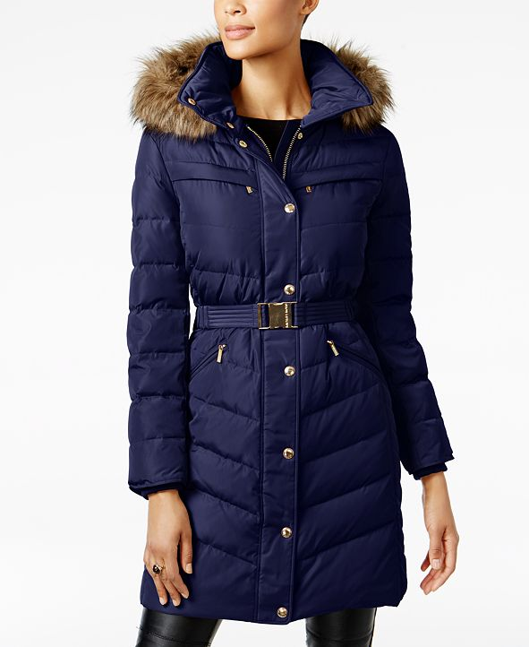 Michael Kors Faux-Fur-Trim Belted Down Puffer Coat, Created for Macy's