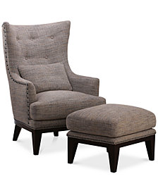 Roselake Fabric Accent Chair & Ottoman Set, Created for Macy's