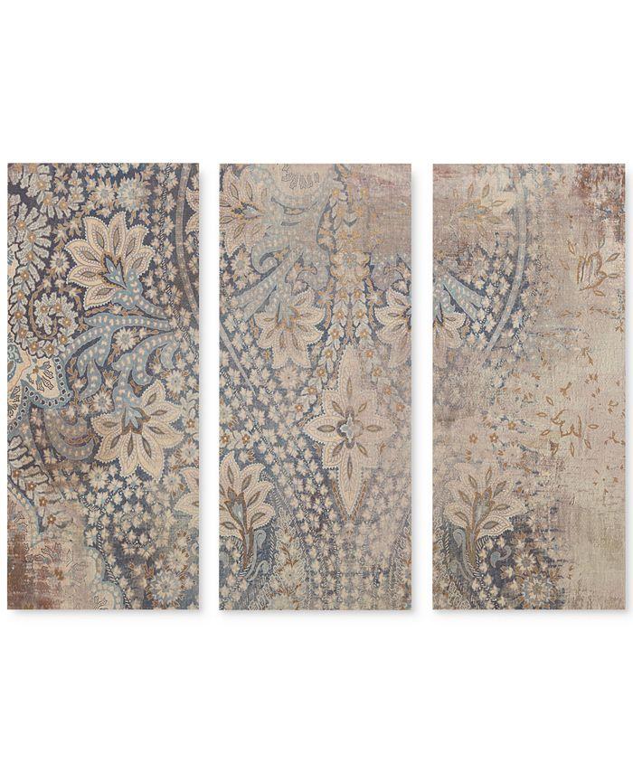 JLA Home - Weathered Damask Walls 3-Pc. Linen Canvas Print Set