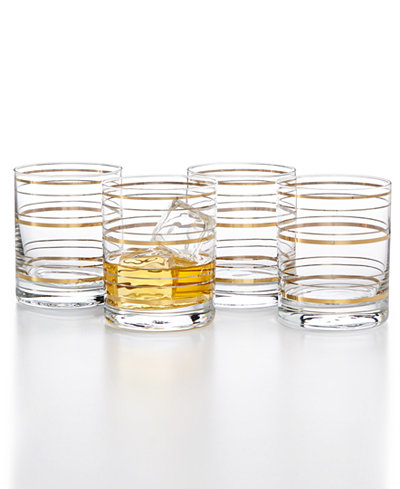 CLOSEOUT! Martha Stewart Collection Rocks Glasses with a Twist, Set Of 4, Created For Macy's
