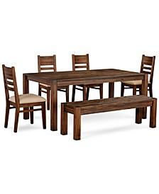 """Avondale Large Dining, 6-Pc. Set (72"""" Dining Table, 4 Side Chairs & Bench), Created for Macy's"""
