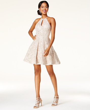 B Darlin Juniors Sequin Lace Fit Amp Flare Dress Dresses